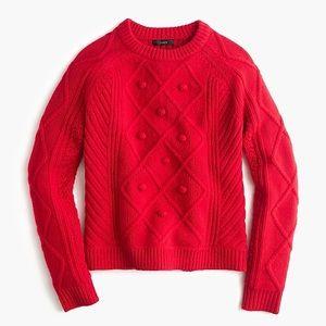 J.Crew Merino Wool Cable Pom Pom Sweater